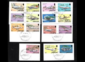 Gibraltar: 1982, Freimarken Flugzeuge (Briefstücke mit Esst)
