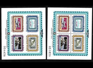 Ungarn: 1974, Blockpaar Flugpostmarken (gez. und ungezähnt)