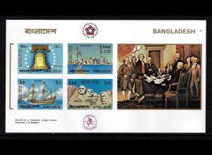 Bangladesch: 1976, Blockausgabe 200 Jahre USA (ungezähnt, auch Motiv Segelschiffe, M€ 75,-)