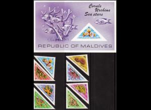 Malediven: 1975, Korallen, Seeigel und Seesterne (Satz und Blockausgabe)