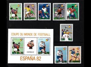 Kongo-Zaire: 1981, Fußball-WM Spanien (Spielszenen, Satz und Blockausgabe)