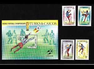 Turks- und Caicos-Inseln: 1982, Fußball-WM Spanien (Spielszenen, Satz und Blockausgabe)