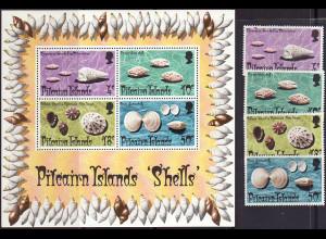 Pitcairn: 1974, Meeresschnecken und Muscheln (Satz und Blockausgabe)