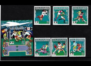 Libyen: 1985, Fußball-WM Mexiko (Spielszenen, Satz + Block, ohne Bl 99)
