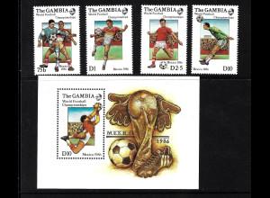 Gambia: 1986, Fußball-WM Mexiko (Spielszenen, Satz und Blockausgabe)