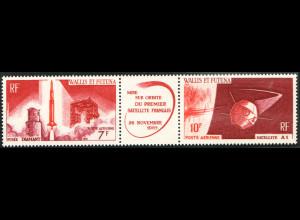 """Wallis- und Futuna-Inseln: 1966, Zusammendruckstreifen Satellit """"A1"""""""