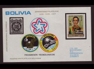 Bolivien: 1975, Block 200 Jahre USA (Weltraum: Apollo 11 und Apollo-Sojus)