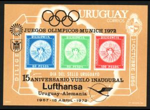 Uruguay: 1972, Überdruck-Blockausgabe Deutsche Lufthansa (auch Sommerolympiade München)