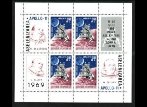 Rumänien: 1969, Blockausgabe Mondlandung von Apollo 11