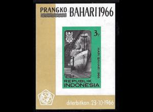 Indonesien: 1966, Blockausgabe Tag der Seefahrt (Motiv: Schiffe)