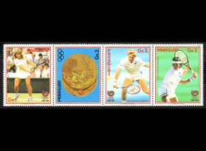 Paraguay: 1988, Zdr.-Streifen Sommerolympiade Seoul (berühmte Tennisspieler, u. a. Boris Becker und Steffi Graf; ohne Höchstwert)