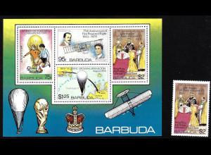 Antigua und Barbuda - Barbuda: 1978, Regierungsjubiläum Königin Elisabeth II. (Blockausgabe, auch Motiv Fußball und Flugzeuge)
