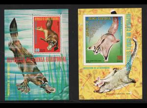 Äquatorial Guinea: 1974, Blockpaar Australische Tiere