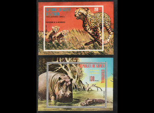 Äquatorial Guinea: 1974, Blockpaar Afrikanische Tiere