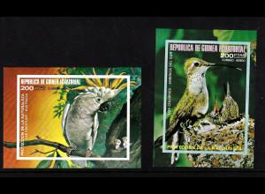 Äquatorial Guinea: 1974, Blockpaar Südamerikanische und australische Vögel (ungezähnt)