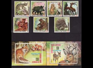 Äquatorial Guinea: 1976, Europäische Säugetiere (Satz gezähnt sowie Blockpaar)