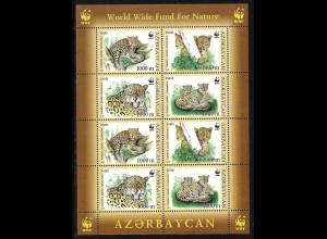 Aserbaidschan: 2005, Kaukasischer Leopard, WWF-Ausgabe (Zdr.-Kleinbogen mit 2 Viererblöcken)