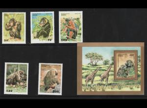 Benin: 1995, Affen (Satz und Blockausgabe)