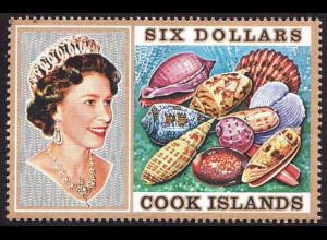 Cook-Inseln: 1974, Freimarken Meeresschnecken und Muscheln 6 $ (Einzelstück)