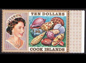 Cook-Inseln: 1974, Freimarken Meeresschnecken und Muscheln 10 $ (Höchstwert)