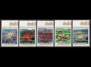 Cook-Inseln: 1986, Dienstmarken-Überdruckausgabe Nesseltiere (Kurzsatz 12 - 70 C.)