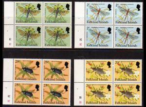 Falklandinseln: 1984, Freimarken Spinnen und Insekten 2 P., 7 P., 20 P. und 25 P. als Heftchenblätter mit je 4 Marken