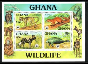 Ghana: 1977, Blockausgabe Tiere (seltene WWF-Ausgabe)