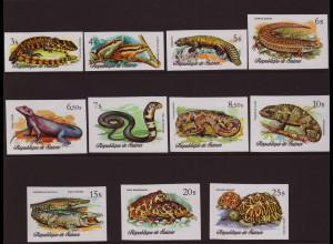 Guinea: 1977, Reptilien und Amphibien (ungezähnt)