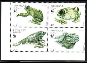 Haiti: 1999, Haiti-Laubfrosch und Wirtelschwanzleguan, WWF-Ausgabe (Viererblock)