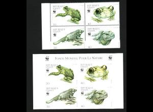 Haiti: 1999, Haiti-Laubfrosch und Wirtelschwanzleguan, WWF-Ausgabe (Viererblock, jeweils gez. und ungezähnt)