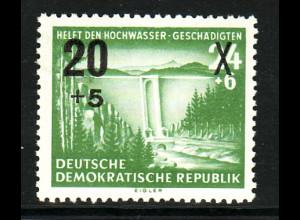 """DDR: 1954, Überdruck Hochwassergeschädigte; Plattenfehler: """"weißer Punkt im C"""""""