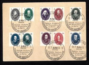 DDR:1950, Akademie (Prachtsatz auf Briefstück mit zugehörigem SoSt.)