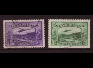 Neuguinea: 1935, Flugpostmarken 2 und 5 £ (Flugzeug Junkers G31 sowie altspanisches Handelsschiff, M€ 700,-)