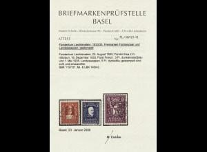 Liechtenstein: 1933/35, Freimarken 2 - 5 Fr. (Fotoattest)