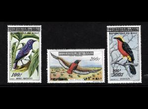 Mali: 1960, Überdruckausgabe Vögel (ohne Höchstwert 500 Fr.)