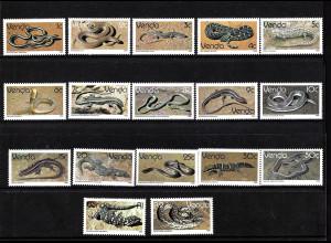 Venda (Südafrikanisches Homeland): 1986, Freimarken Reptilien