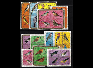 Burundi: 1970/71, Vögel mit Ergänzungswerten (48 Werte in Viererblockanordnung)
