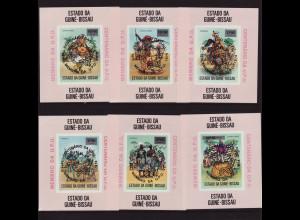 Guinea-Bissau: 1976, Weltpostverein UPU (sechs ungezähnte Einzelblockausgaben mit schwarzem Aufdruck, M€ 150,-)
