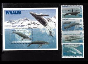 Britische Antarktisgebiete: 1996, Wale (Satz und Blockausgabe)
