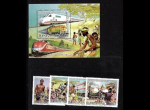 Burkina Faso: 1986, Eisenbahnwesen (Satz und Blockausgabe)