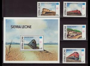 Sierra Leone: 1986, Eisenbahn (Satz und Blockausgabe)