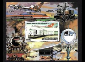 Dschibuti: 1982, Blockausgabe Verkehrsmittel (Motiv: Eisenbahn und Flugzeuge, Einzelstück)