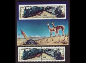 Chile: 1988, Eisenbahnlinie Antofagasta - La Paz (Zusammendruckpaar und Blockausgabe)
