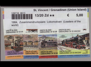 St. Vincent / Grenadinen (Union Island): 1984, Zusammendruckpaare Lokomotiven (Leaders of the world)