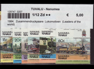 Tuvalu - Nanumea: 1984, Zusammendruckpaare Lokomotiven (Leaders of the world)