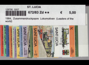 St. Lucia: 1984, Zusammendruckpaare Lokomotiven (Leaders of the world)