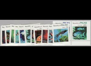 Palau-Inseln: 1983, Freimarken Meerestiere (gezähnter Satz sowie Zusammendruckpaar aus Markenheftchen)