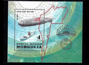 """Mongolei: 1981, Blockausgabe Luftschiff """"Graf Zeppelin"""" und Eisbrecher """"Malygin"""""""