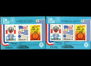 Uruguay: 1975, Blockausgabe Briefmarkenausstellungen sowie ungezähnter Ausstellungsblock (Motiv: Fußball, 200 Jahre USA und Weltpostverein)