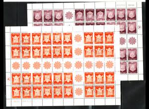 Israel: 1966, Wappen 8 und 12 A., zwei Kehrdruck-Zusammendruck-Bögen